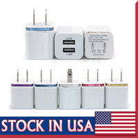 Wholesale Universal Travel Ac Usb Adapter - For Iphone 7 S8 Metal Dual USB Wall Charger 5V 2.1A 1A Travel Adapter US EU plug AC Power Adapter 2 port
