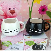 Wholesale Creative White Black Cat Animal Milk Coffee Juice Breakfast Cup Ceramic Lovers Mug With Handle Drinkware Best Gift ZA1289