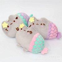 Wholesale Little Mermaid Dolls - 2017 Cartoon 18CM Pusheen Cat little mermaid Plush Toys Lovely Animal Smile Cat Plush Doll