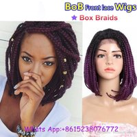 Wholesale Usa Wigs - African american short braided wig black bob braids synthetic lace front wig brown heat resistant fiber black women hair usa uk