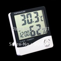Wholesale Lcd Humidity - New LCD Digital Thermometer Hygrometer HTC-1 Temp & Humidity Clock Portable Temperature And Humidity Tester Free Shipping