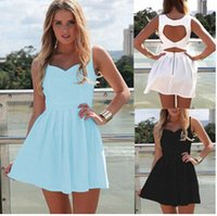 Wholesale White Open Back Briefs - New 2015 Summer Sexy Heart Open Cut Out Back Backless Party Mini Dress White Light Blue Black