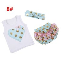 Wholesale polka dot t shirt infant resale online - 12 Colors Infant Girls Summer Gold Polka Dots Clothing Sets Baby Girl Sleeveless Heart Vest T shirt Headbands Lace Ruffle Shorts