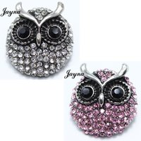 Wholesale Wholesale Gifts Metal Owl - 18 20mm Snaps Jewelry Rhinestone owl style metal snaps buttons For Ginger Button Snap Jewelry bracelets Jaynalee snaps jewelry GS1208094