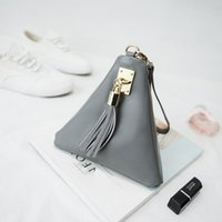 Wholesale Fringe Clutch Bags Wholesale - Wholesale-2016 Designer Evening Bags Triangle Women Leather Handbags Ladies Hand Bag Wristlets Organizer Fringe Clutches Small Party Pouch