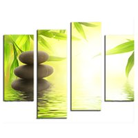 Wholesale oil painting bamboo - Amosi Art-4 Pieces Canvas Prints Wall Art Stone Bamboo Canvas Print Stone, Bamboo Photo Canvas Art for Home Wall Decoration(Wooden Framed)