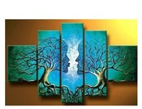 Wholesale Lovers Oils Canvas - 100% Hand Painted Oil Paintings Lover Tree Kissing 5 Panels Unframed Canvas Art For Living Room Wall Pictures Home Decoration