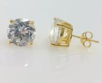 Wholesale Lab Diamond Stud - Men Women 14k Yellow Gold Clear Lab Diamond Round Stud Earrings