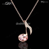 Wholesale elegant vintage necklaces - Simple Elegant Music Note Vintage Necklaces & Pendants 18K Gold Plated Imitation Gemstone Crystal Party Jewelry For Women DFN110
