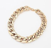 Wholesale Fake Gold Chains - Major Suit Coarse Chain Simple Fake Metal Necklace Women Choker Necklace Gold Silver Black free shipping