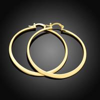 Wholesale Metal Earring Clip - Free shipping women female ladies fashion roundness popular 18k gold plated earrings metal ear stud ear clip