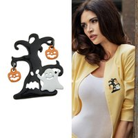Wholesale Resins Pumpkins - New Fashion Jewelry Arcylic White Ghost Orange Pumpkin Black Tree Shape Brooch Pins For Women Accessories