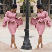 Wholesale Royal Blue Large Size Dresses - Vintage Pink Saudi Arabia Prom Dresses Large Petals Design Long Sleeves Evening Gowns South African Sheath Knee Length Women Party Vestidos