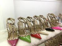 Wholesale Brand New Fashion Women - 2016 New summer Bowtie bottom High heels pumps pointed women shoes black round toe platform womens brand Rivets Pumps Fashion brand shoes