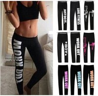 Wholesale Working Pants - Hot Fashion Winter Comfortable Women Workout Fit Pants Tight fitting Work Out Just Do it Print Loose Cotton Leggings One Size LN1011