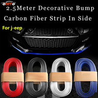 Wholesale Dodge Door Sill - Free shipping 2.5 Meter outside carbon fiber Rubber Car Front bumper Stripsm 250cm Lip Kit protection anti collision decoration strips