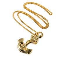 Wholesale Mens Anchor Necklaces - Fashion Men Charm Anchor Necklaces Punk Rock Micro Hip Hop Rap Big Pendant 18K Gold Plated Jewelry Mens Filling Pieces Chains Necklace
