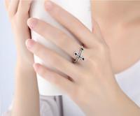 korea sterling silber großhandel-Korea Mode 925 Sterling Silber Überzogene Ring Retro Kreuz Offene Ringe für Frauen Mädchen Valentinstag Geschenk