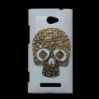 Wholesale Windows 8x Phones Cases - Fashion Case Cover for HTC Windows Phone 8X, 3D Retro Vintage Bronze Metallic Skeleton Skull Punk Stud Rivet Back Hard Protective Skin Shell
