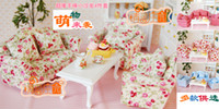Wholesale Dollhouse Tables - G05-X439 children baby gift Toy 1:12 Dollhouse mini Furniture Miniature rement sofa tea table set 4pccs set