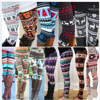 Wholesale Xmas Fashion - Xmas Snowflakes Reindeer Print Leggings DHL Free Shipping 13 Colors Knitted Women Stretchy Pants Nordic Thick Warm Bootcut Christmas Gift