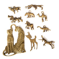 Wholesale Wholesale Bronze Jewels - Free shipping Wholesale 45pcs lot Mixed Tibetan Zinc Alloy Leopard Dog Charms Antique Bronze Plated Pendants For DIY Jewelry Findings jewel