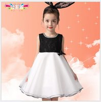 Wholesale wholesale net evening dresses - 2016 Cute Girls Summer Princess Dress Children Fashion Noble Sleeveless Vest Evening Dresses Kids Lace Net Yarn Party Dress With Big Bowknot