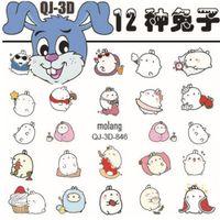 Wholesale Korea 3d Nail Sticker - Qj--841-852 12 South Korea Cute Cartoon Rabbit Rabbit Nail Polish Manicure 3D Self-adhesive Stickers Hot Sale Free Shipping