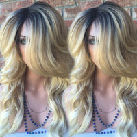 Wholesale t1b wig - Brazilian Full Lace Wigs Lace Front Wigs Glueless Blonde Ombre Human Hair Wigs T1b 613 Two Tone Ombre
