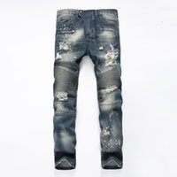 Wholesale Famous Skinny Stretch - 2017 Famous Distressed patches Biker Cargo Jeans stretch Demin jeans Hiphop Cropped Pants with Extreme ripped Straight Plus size 28~38