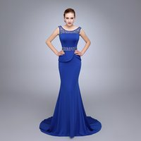 Wholesale Neck Yoke - HS14 Shimmering Sheer Neck Beaded Prom Gowns Wear Yoke Mermaid Silhouette Floor Length With Straps Royal Blue Long Prom Dresses