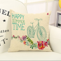 Wholesale Wheelbarrow Wholesalers - Happy summer time pillow case Bicycle wheelbarrow kettle flowers patterns back cushion cover without pillow core