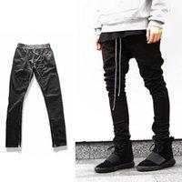 Wholesale Justin Bieber Jogging Pants - justin bieber leg zipper skinny drawstring Jogging casual pants hip hop streetwear men slim fit zipper chino pants