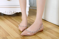 Wholesale Nude Dressed Woman Girl - Women Patent leatner rivets ballet flat Cheap Studded Womens dress flat beige cheap shoes girl casual shoes