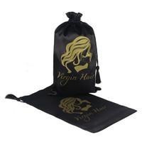 Wholesale Hair Tassel - Black Virgin Hair Drawstring Packaging Bag, Hair Extension Bundles Satin Bag with Tassel