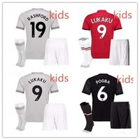 Wholesale Tops Soccer Boys - top quality 2017 2018 kids POGBA Man Utd soccer jerseys 17 18 football soccer shirt LINDELOF RASHFORD MKHITARYAN LUKAKU Children JERSEY