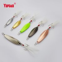 Wholesale Pool Leaf - YAPADA Spoon 009 Fly Leaf BKK HOOK+Feather 7g Multicolor 39mm Metal Spoon Fishing Lures Full swimming pool Fast sink