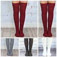 Wholesale girl knit boots online - Over Knee Stockings Women Girls Warm Knit Thigh High Long Stockings Knitted Boot Socks Leggings Pairs LJJO2931