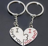 Wholesale Silver Plated Wedding Favors - Creative Kiss Heart keyChain Favors Wedding Supplies Keyrings American Keychain10pair lot fashion lovers' accessories For wedding gust Gifts