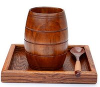Wholesale Wine Barrels Free Shipping - 2017 Fashion Jujube Wooden Barrel Shaped Beer Mug Brown Wood Wine Cups Belly Cup 200ML Free Shipping LLFA