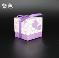 Wholesale Christmas Stocking Holders Wholesale - Glittering Purple Wedding Favor Boxes 2017 Hot Sale Cheap 100 Pieces Stock Candy Party Boxes Favor Box Wedding Supplies Favor Holders