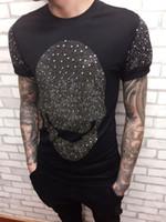 Wholesale Korean Import Bags - The new Metrosexual Korean personality full diamond skull t-shirt imported hoodies T-shirt bag mail