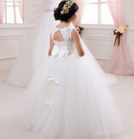 Wholesale simple hand made dresses for girls resale online - Ivory Lace Flower Girl Dress for weddings Communion Dress Simple Design Lace Girl Dress