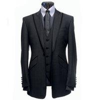 Wholesale Men Wedding Groom Suits - Wholesale-Custom Made Groom Tuxedo Dark Grey Groomsmen Peak Lapel Wedding Dinner Suits Best Man Bridegroom (Jacket+Pants+Tie+Vest) B237