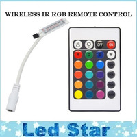 Wholesale 24 Key Ir Controller - 24 Key Wireless IR Remote Control 12V RGB LED Mini Controller Dimmer for rgb LED Strip 5050 3528 3 channels led lighting accessories