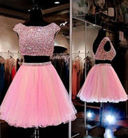 Wholesale short bling homecoming dresses - 2017 Two Pieces Bateau Neck Homecoming Dresses Bling bling Sequins Backless Organza A-line Short Prom Evening Gowns Cocktail Dresses