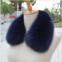 Wholesale Blue Fur Scarf - Wholesale-Real fox Fur Collar Scarf Womens Shawl Wraps Shrug Neck Warmer Black Stole Wholesale Hot sale Ring Scarf Womens L#11