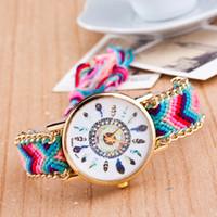 перьевые часы оптовых-Часы женщины ручной работы Плетеный браслет дружбы часы перо ручной работы наручные часы кварц золотые часы женщины платье часы
