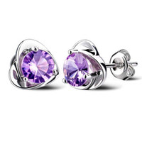 Wholesale Love Romantic - Hot Sale Classic Trendy Loves Stud Zircon 925 Sterling Silver Fashion Jewelry Romantic Exquisite Women Earrings White Purple Free Shipping