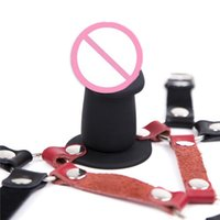 Wholesale dildo shorts - Soft Leather Thick Short Penis Head Harness Gag Face Strap On Dildo Harness Bondage Fetish Restraint Sex Products